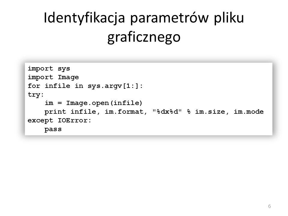 Identyfikacja parametrów pliku graficznego