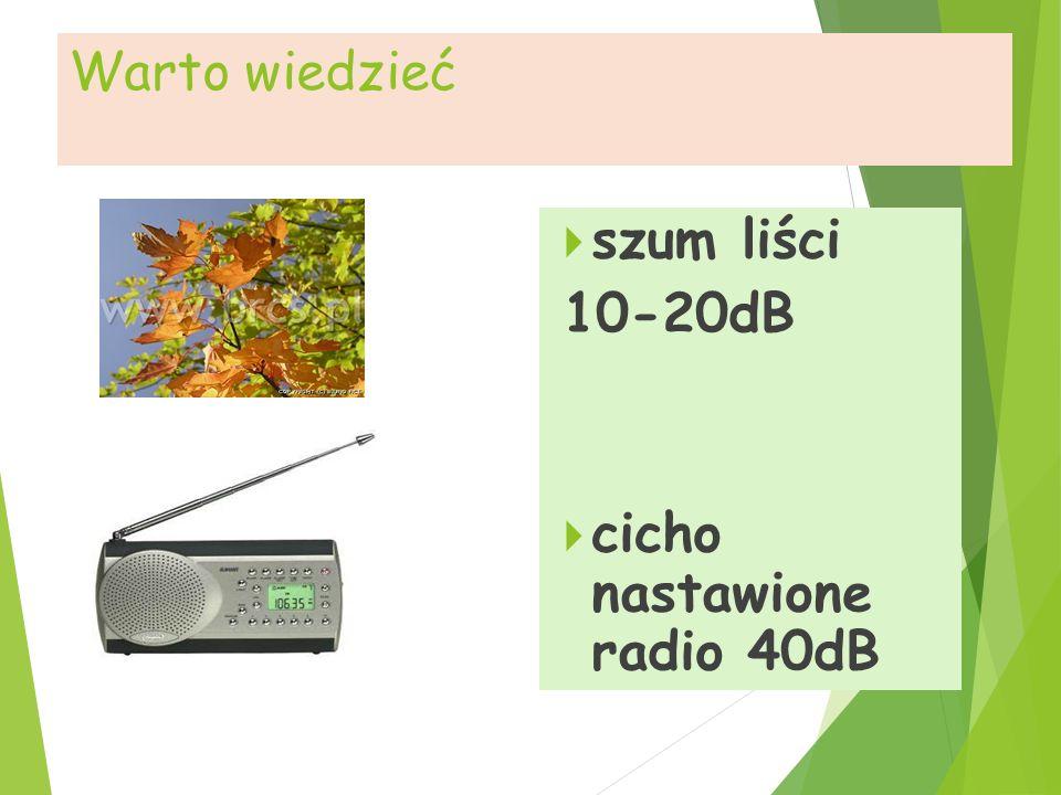 cicho nastawione radio 40dB