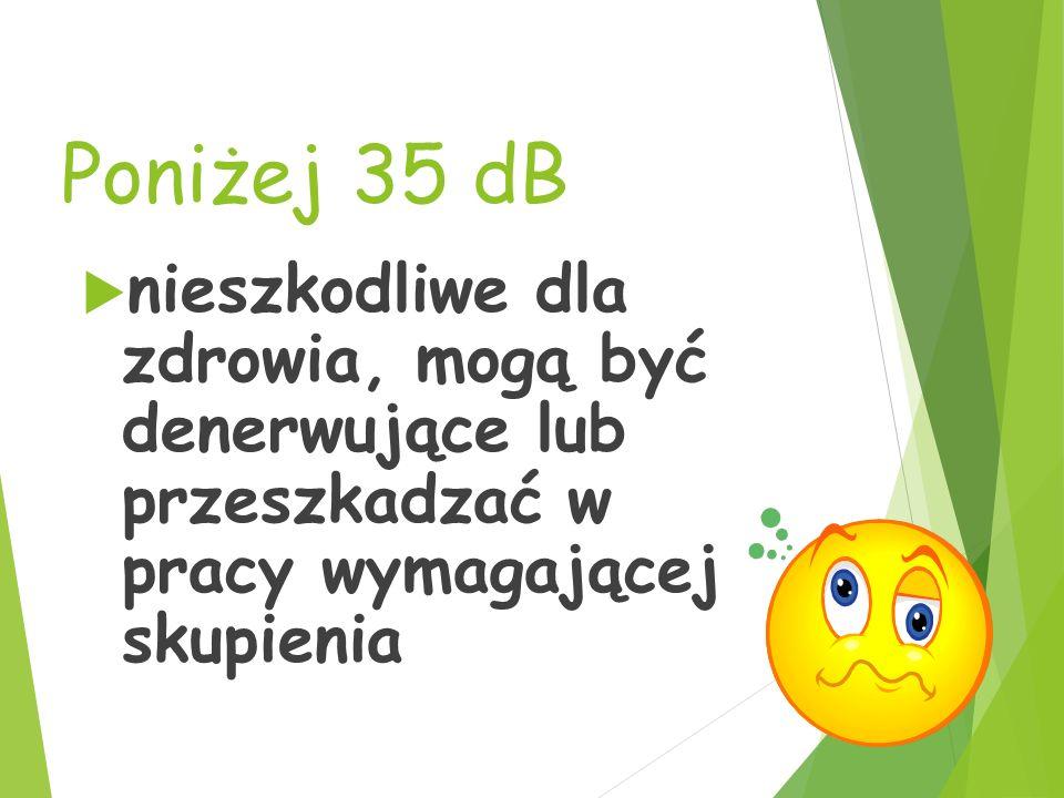 Poniżej 35 dB nieszkodliwe dla zdrowia, mogą być denerwujące lub przeszkadzać w pracy wymagającej skupienia.