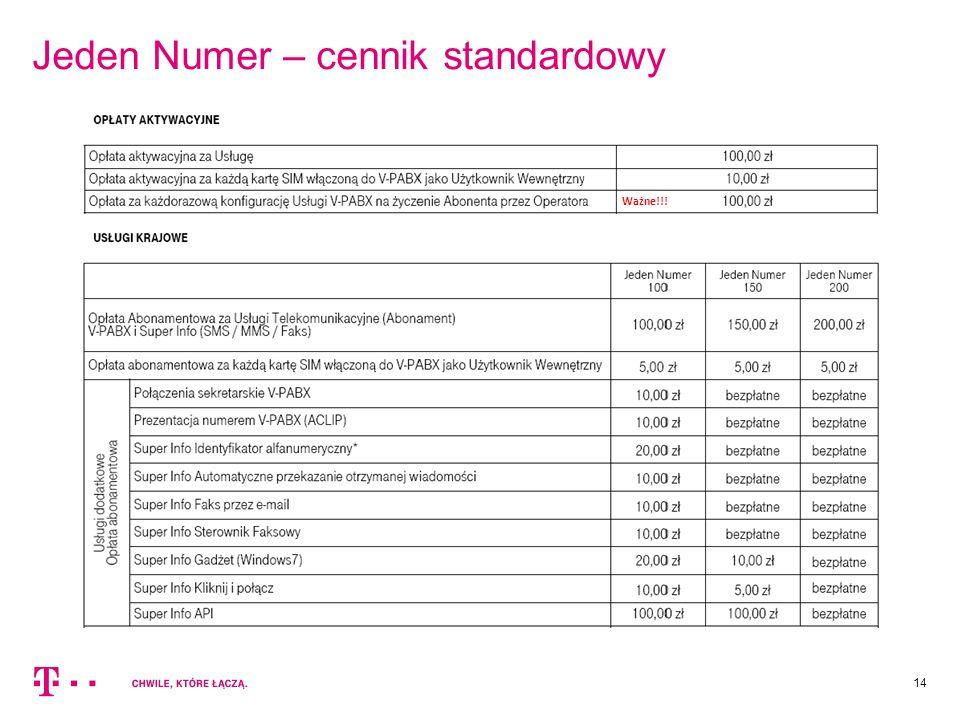 Jeden Numer – cennik standardowy