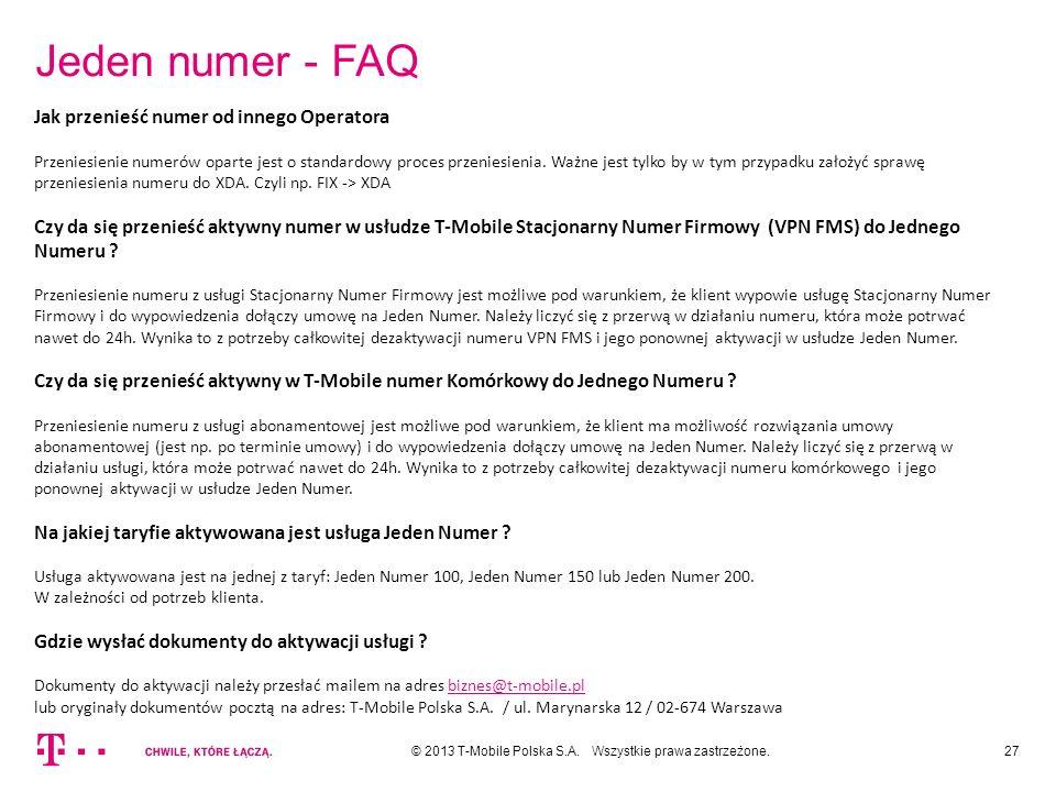 Jeden numer - FAQ Jak przenieść numer od innego Operatora
