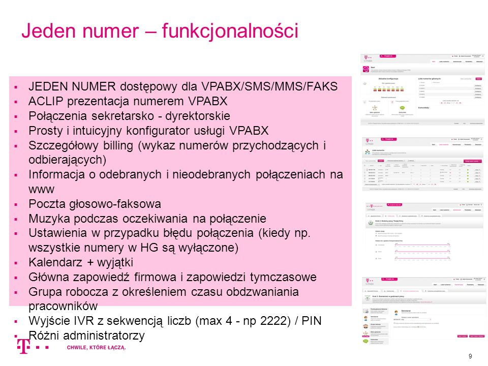 Jeden numer – funkcjonalności