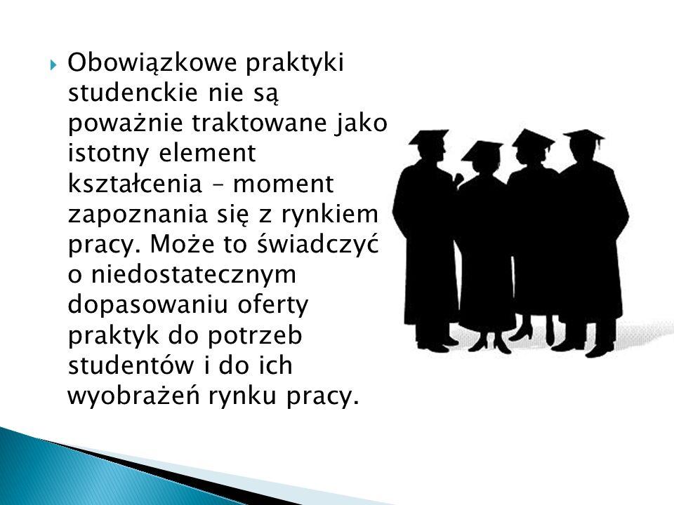 Obowiązkowe praktyki studenckie nie są poważnie traktowane jako istotny element kształcenia – moment zapoznania się z rynkiem pracy.