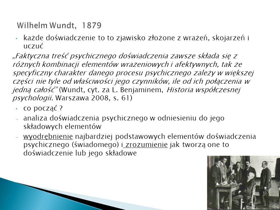 Wilhelm Wundt, 1879 każde doświadczenie to to zjawisko złożone z wrażeń, skojarzeń i uczuć.