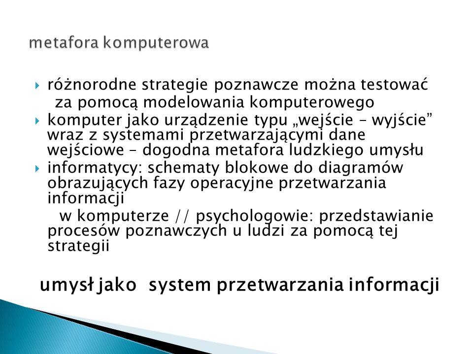 umysł jako system przetwarzania informacji
