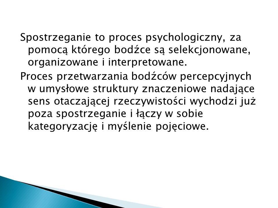 Spostrzeganie to proces psychologiczny, za pomocą którego bodźce są selekcjonowane, organizowane i interpretowane.