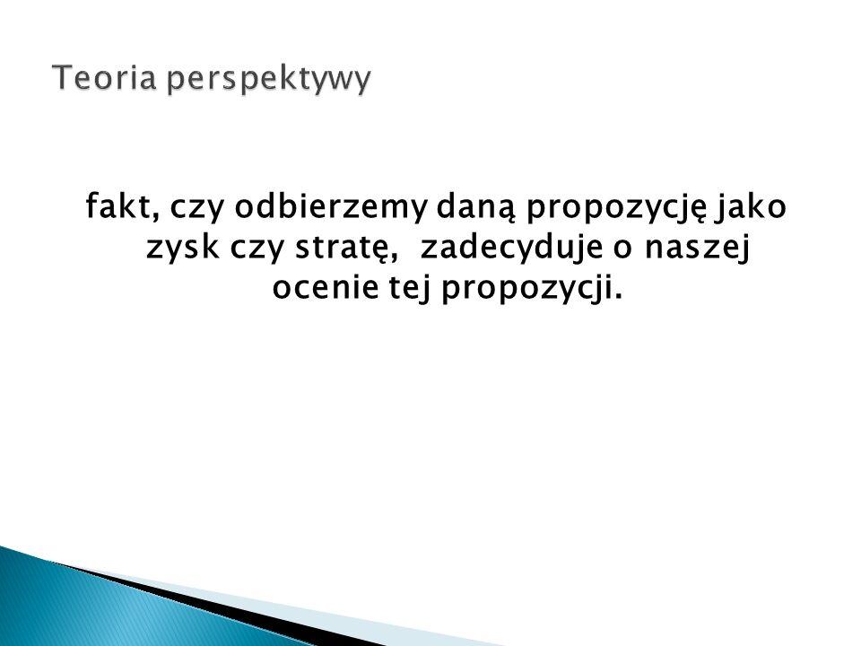 Teoria perspektywy fakt, czy odbierzemy daną propozycję jako zysk czy stratę, zadecyduje o naszej ocenie tej propozycji.