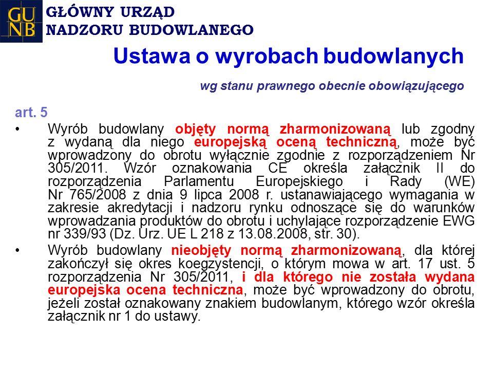 Ustawa o wyrobach budowlanych wg stanu prawnego obecnie obowiązującego
