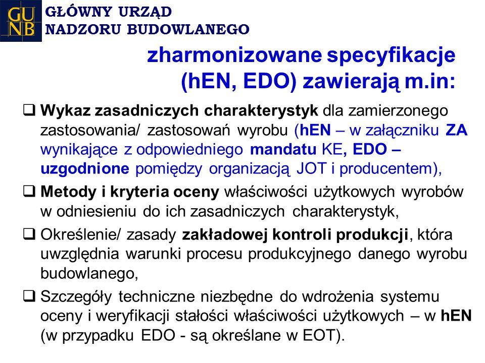 zharmonizowane specyfikacje (hEN, EDO) zawierają m.in: