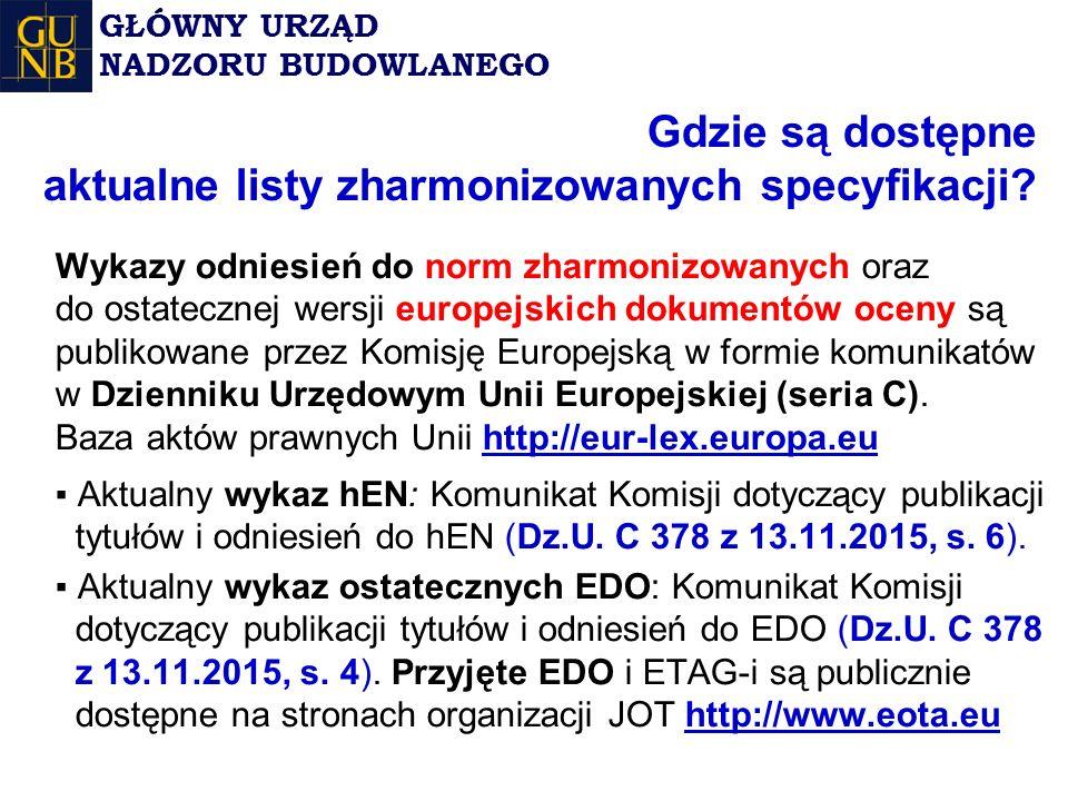 Gdzie są dostępne aktualne listy zharmonizowanych specyfikacji