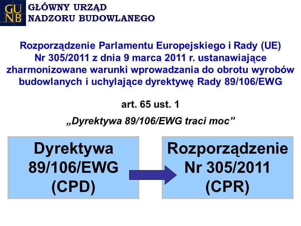 """""""Dyrektywa 89/106/EWG traci moc Rozporządzenie Nr 305/2011 (CPR)"""