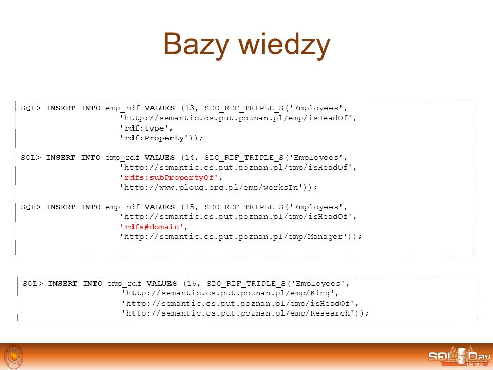 Bazy wiedzy SQL> INSERT INTO emp_rdf VALUES (13, SDO_RDF_TRIPLE_S( Employees , http://semantic.cs.put.poznan.pl/emp/isHeadOf ,