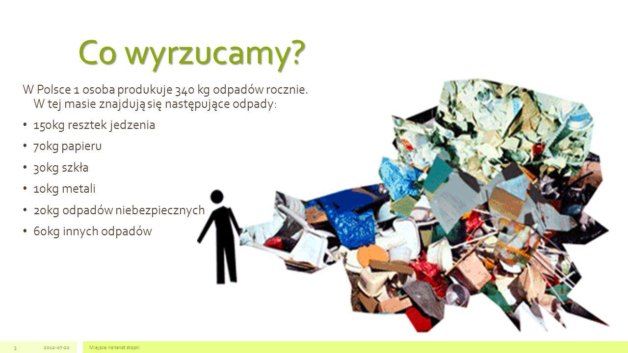 Co wyrzucamy W Polsce 1 osoba produkuje 340 kg odpadów rocznie. W tej masie znajdują się następujące odpady: