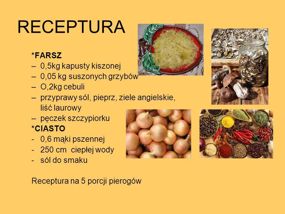 RECEPTURA *FARSZ 0,5kg kapusty kiszonej 0,05 kg suszonych grzybów