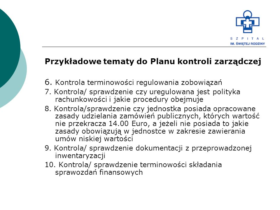 Przykładowe tematy do Planu kontroli zarządczej