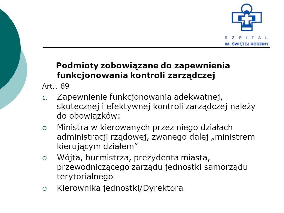 Podmioty zobowiązane do zapewnienia funkcjonowania kontroli zarządczej