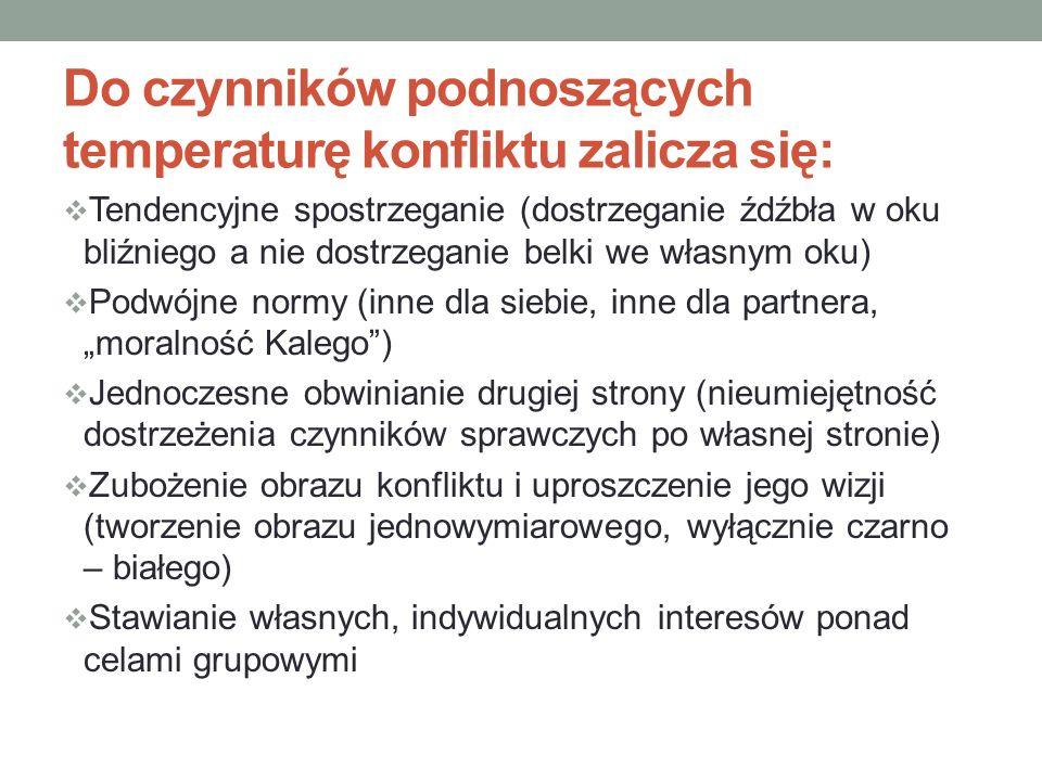 Do czynników podnoszących temperaturę konfliktu zalicza się: