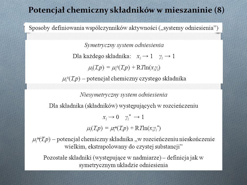 Potencjał chemiczny składników w mieszaninie (8)