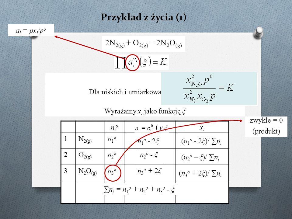 Przykład z życia (1) 2N2(g) + O2(g) = 2N2O(g) ai = pxi/po