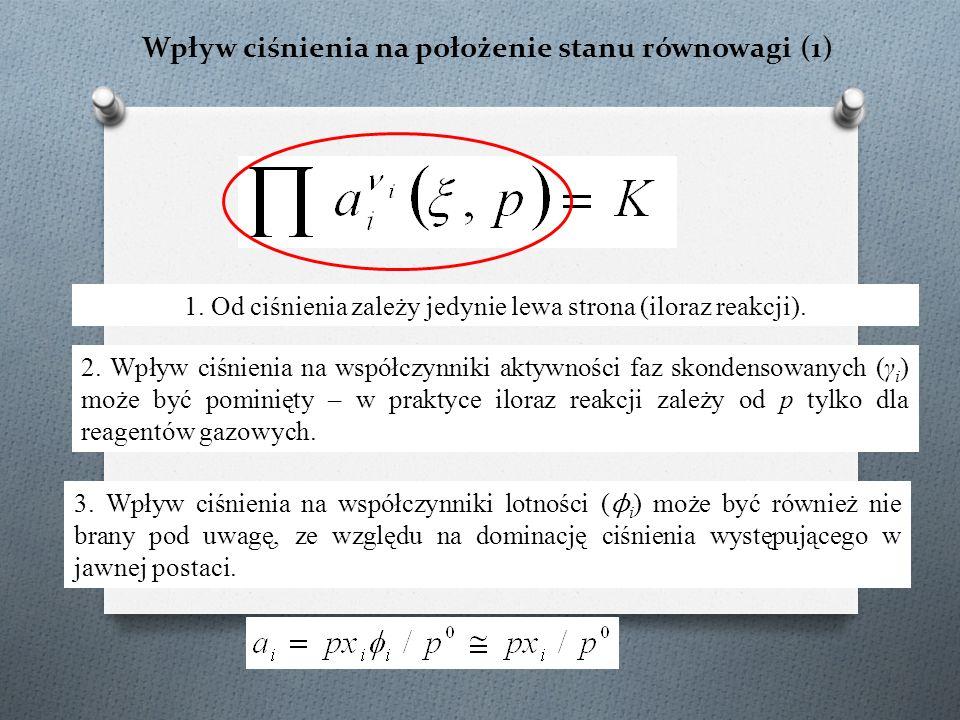 Wpływ ciśnienia na położenie stanu równowagi (1)