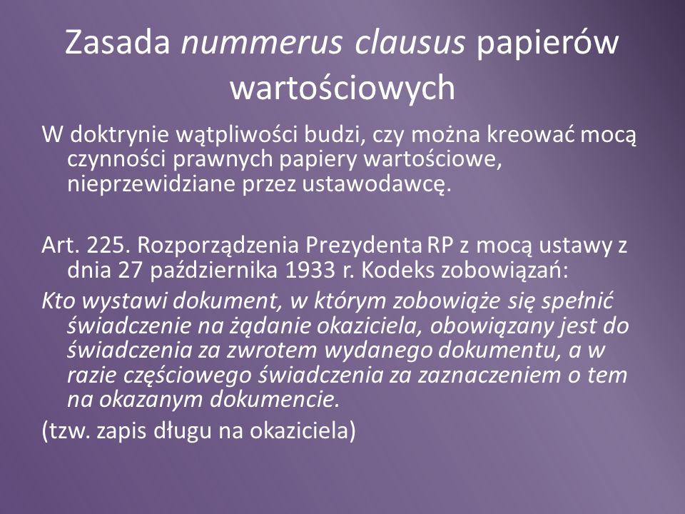 Zasada nummerus clausus papierów wartościowych