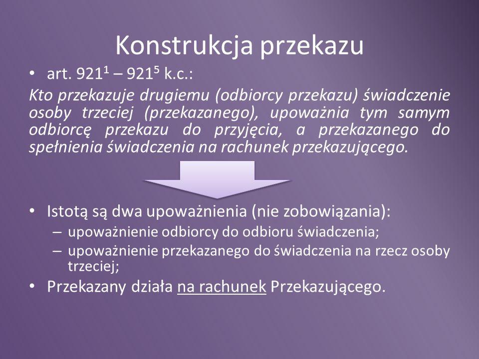 Konstrukcja przekazu art. 9211 – 9215 k.c.: