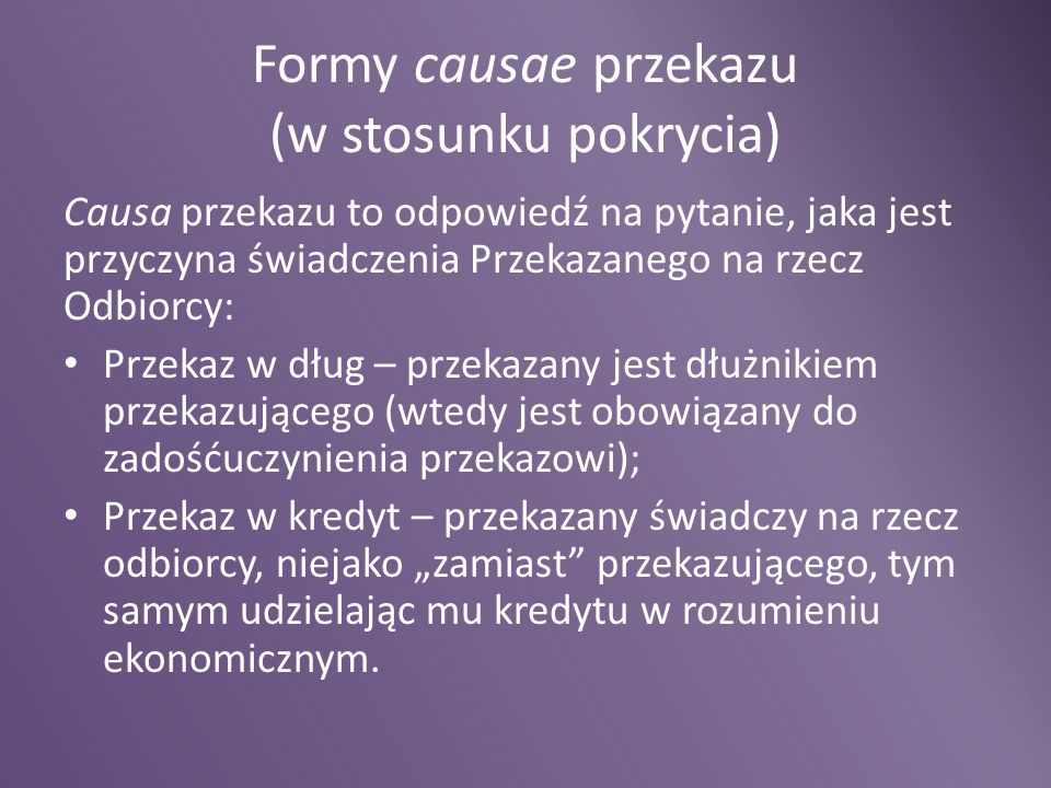 Formy causae przekazu (w stosunku pokrycia)