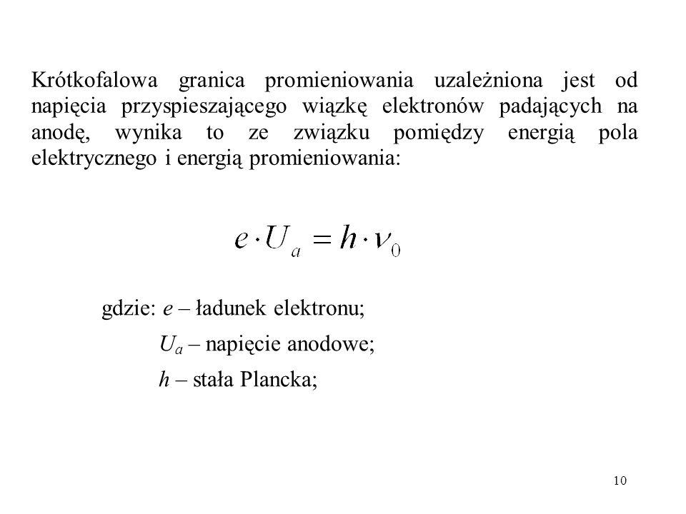 Krótkofalowa granica promieniowania uzależniona jest od napięcia przyspieszającego wiązkę elektronów padających na anodę, wynika to ze związku pomiędzy energią pola elektrycznego i energią promieniowania: