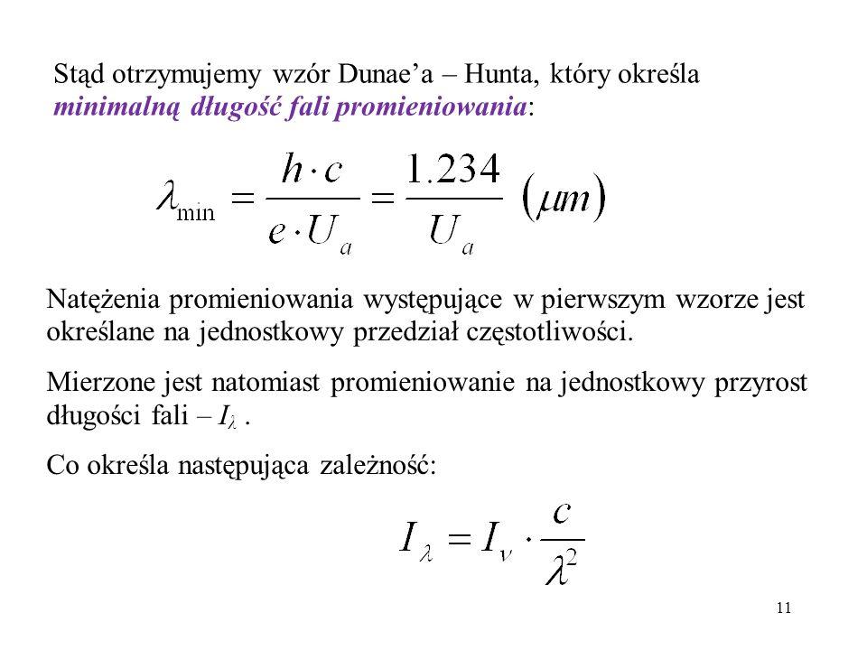 Stąd otrzymujemy wzór Dunae'a – Hunta, który określa minimalną długość fali promieniowania: