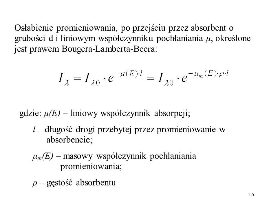 Osłabienie promieniowania, po przejściu przez absorbent o grubości d i liniowym współczynniku pochłaniania μ, określone jest prawem Bougera-Lamberta-Beera: