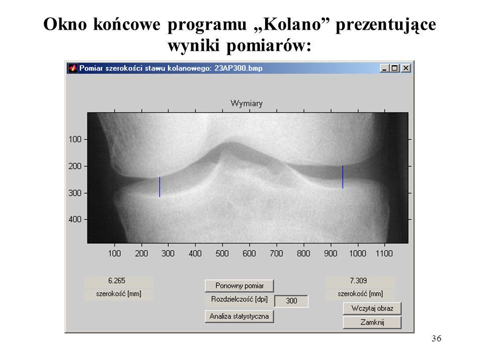 """Okno końcowe programu """"Kolano prezentujące wyniki pomiarów:"""