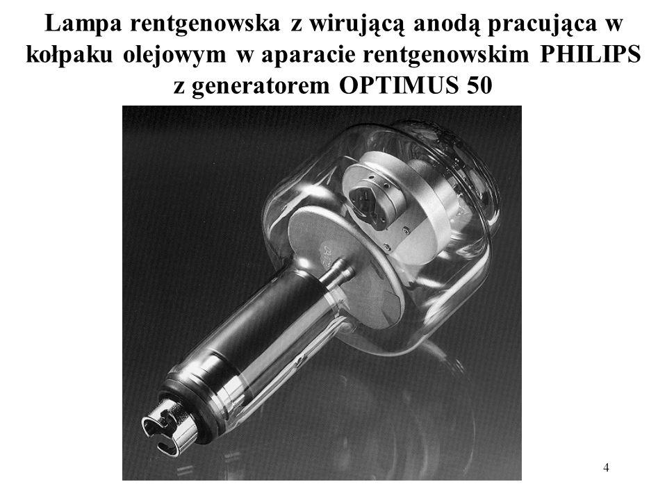 Lampa rentgenowska z wirującą anodą pracująca w kołpaku olejowym w aparacie rentgenowskim PHILIPS z generatorem OPTIMUS 50
