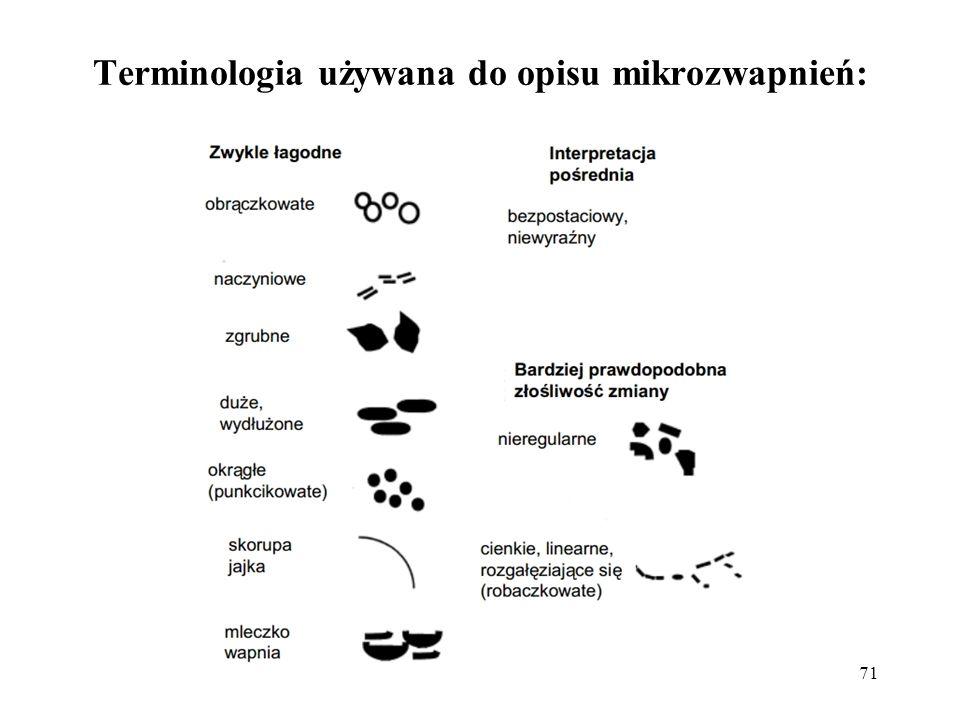 Terminologia używana do opisu mikrozwapnień:
