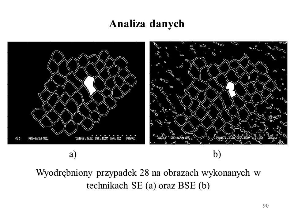 Analiza danych a) b) Wyodrębniony przypadek 28 na obrazach wykonanych w technikach SE (a) oraz BSE (b)
