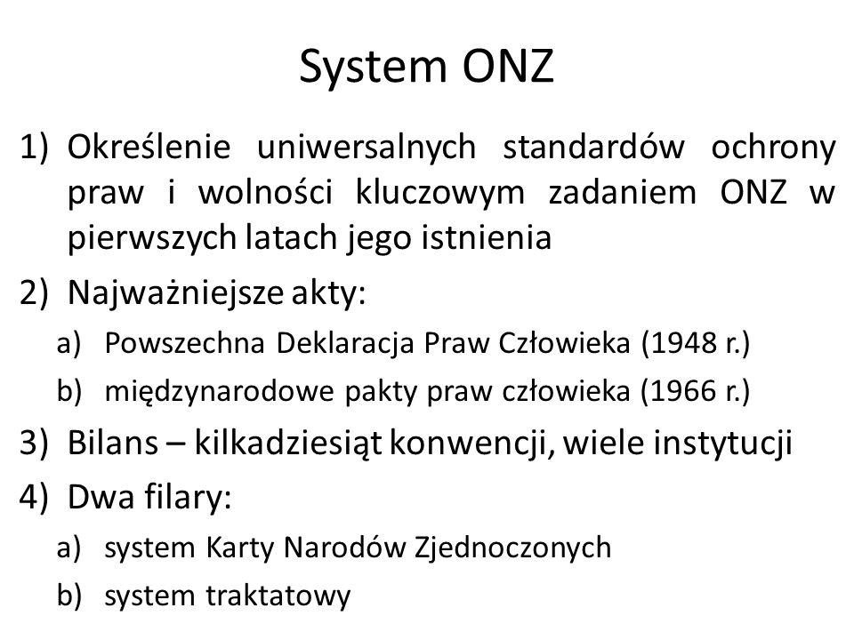 System ONZ Określenie uniwersalnych standardów ochrony praw i wolności kluczowym zadaniem ONZ w pierwszych latach jego istnienia.