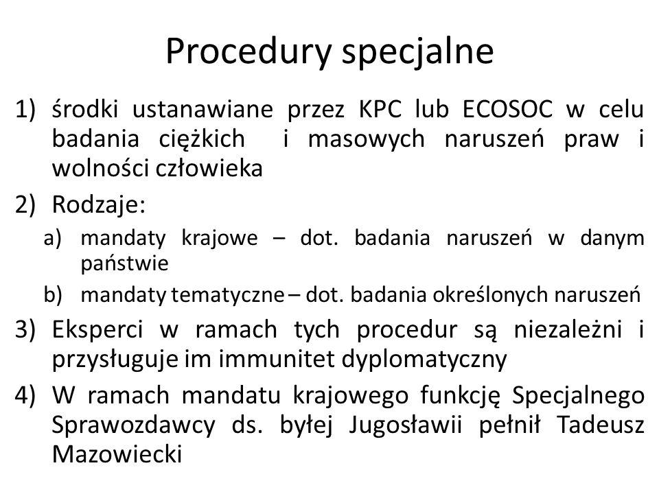 Procedury specjalne środki ustanawiane przez KPC lub ECOSOC w celu badania ciężkich i masowych naruszeń praw i wolności człowieka.