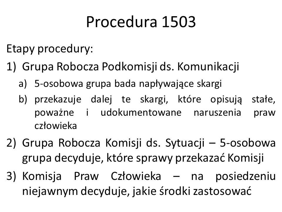 Procedura 1503 Etapy procedury: