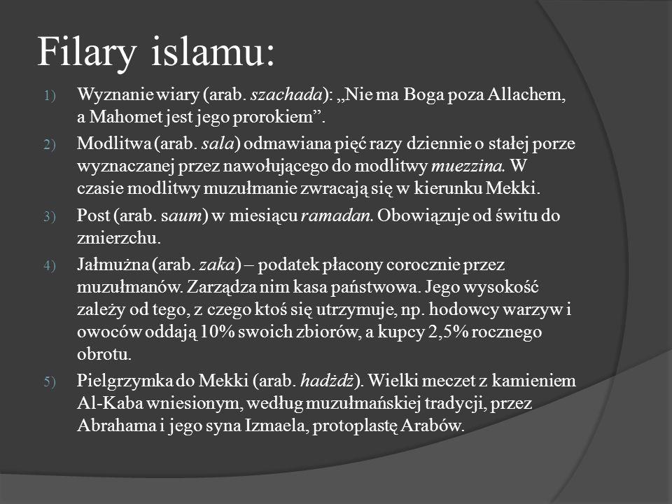 """Filary islamu: Wyznanie wiary (arab. szachada): """"Nie ma Boga poza Allachem, a Mahomet jest jego prorokiem ."""