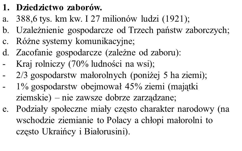 Dziedzictwo zaborów. 388,6 tys. km kw. I 27 milionów ludzi (1921); Uzależnienie gospodarcze od Trzech państw zaborczych;