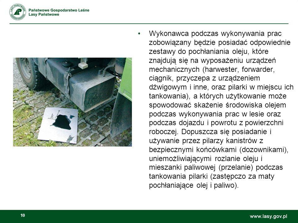 Wykonawca podczas wykonywania prac zobowiązany będzie posiadać odpowiednie zestawy do pochłaniania oleju, które znajdują się na wyposażeniu urządzeń mechanicznych (harwester, forwarder, ciągnik, przyczepa z urządzeniem dźwigowym i inne, oraz pilarki w miejscu ich tankowania), a których użytkowanie może spowodować skażenie środowiska olejem podczas wykonywania prac w lesie oraz podczas dojazdu i powrotu z powierzchni roboczej.