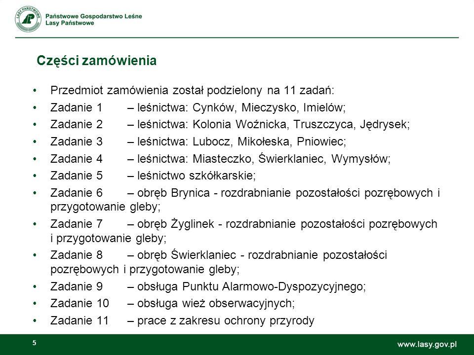 Części zamówienia Przedmiot zamówienia został podzielony na 11 zadań: