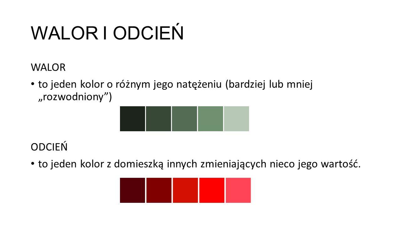 """WALOR I ODCIEŃ WALOR. to jeden kolor o różnym jego natężeniu (bardziej lub mniej """"rozwodniony ) ODCIEŃ."""