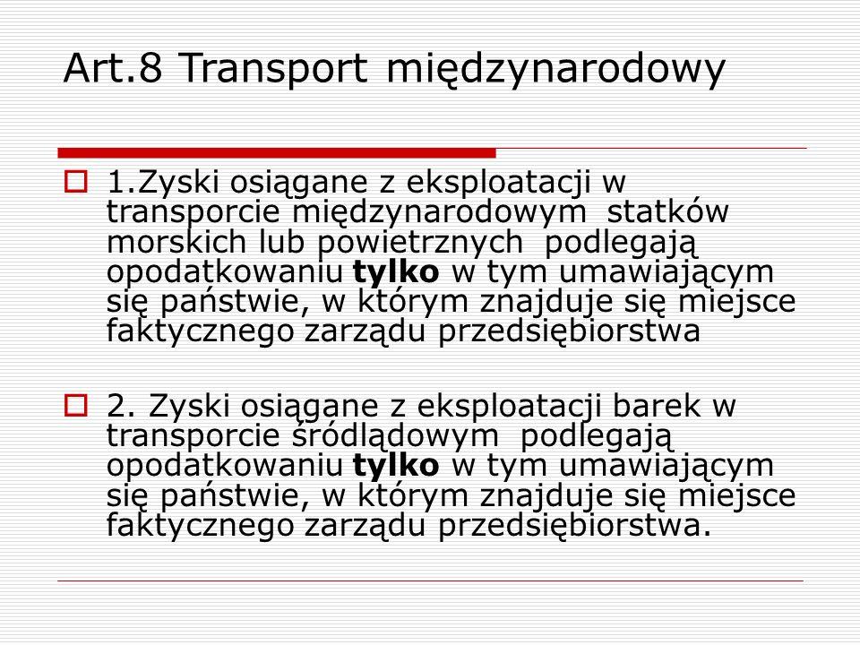 Art.8 Transport międzynarodowy