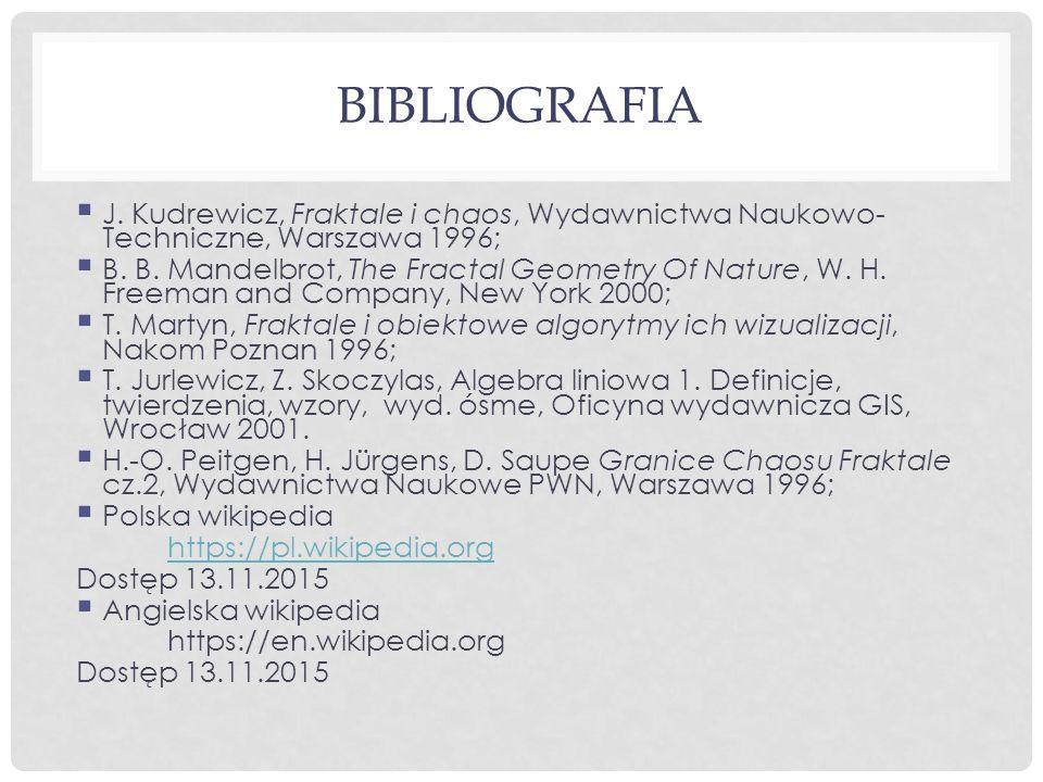 Bibliografia J. Kudrewicz, Fraktale i chaos, Wydawnictwa Naukowo-Techniczne, Warszawa 1996;