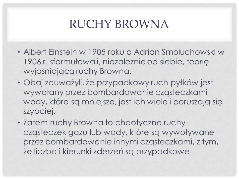 Ruchy browna Albert Einstein w 1905 roku a Adrian Smoluchowski w 1906 r. sformułowali, niezależnie od siebie, teorię wyjaśniającą ruchy Browna.