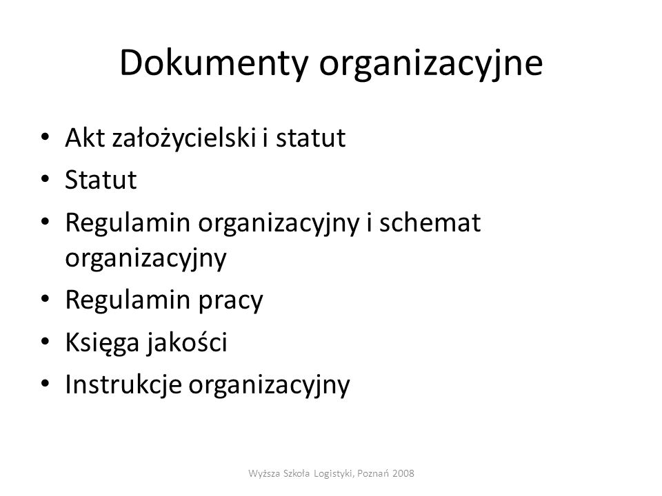 Dokumenty organizacyjne