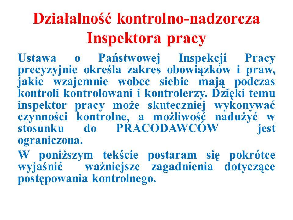 Działalność kontrolno-nadzorcza Inspektora pracy