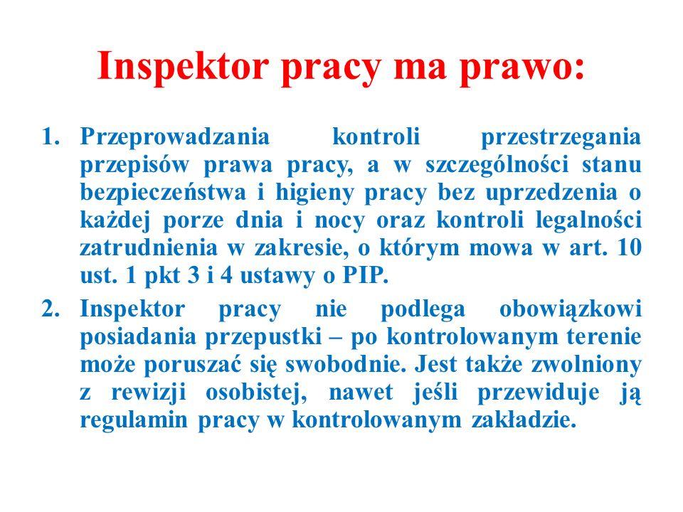 Inspektor pracy ma prawo: