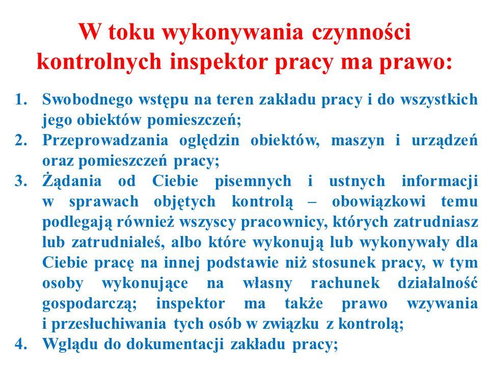 W toku wykonywania czynności kontrolnych inspektor pracy ma prawo: