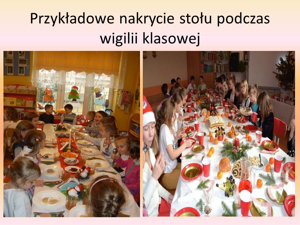 Przykładowe nakrycie stołu podczas wigilii klasowej